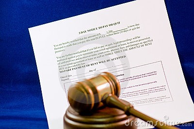 Legal eviction notice and gavel