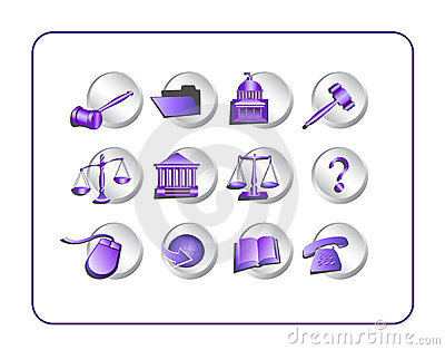 Legal Icon Set - Purple-Silver