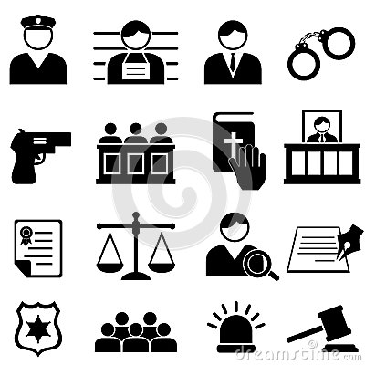 Legal, justice and court icons