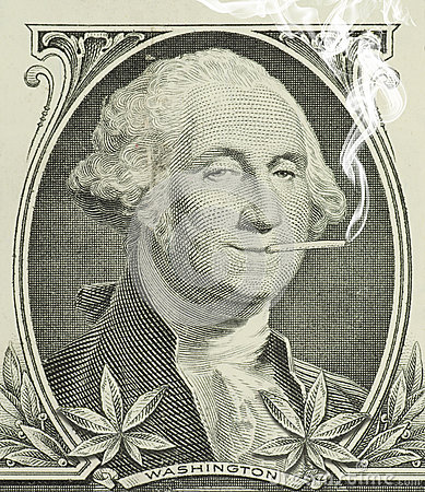 Legalized marijuana George Washington with joint
