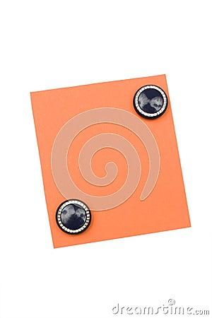 Lege oranje nota met magneet