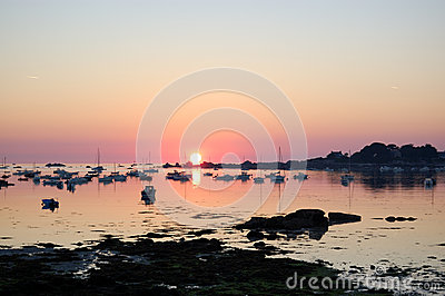 Legendary coast at sunrise, bretagne, france