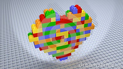 lego briques color es de coeur construites sur la base. Black Bedroom Furniture Sets. Home Design Ideas