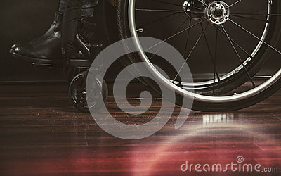 Legs of disabled person. Stock Photo