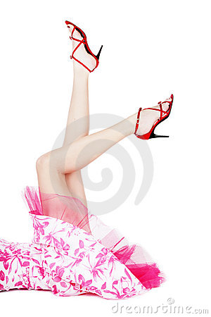 Free Legs In Red Stilettos Royalty Free Stock Image - 4833476