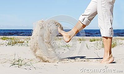 Legs kick sand.