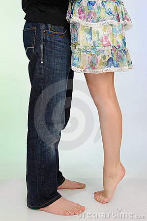 Free Legs Of Beautiful Couple Kissing. Royalty Free Stock Photos - 19253718