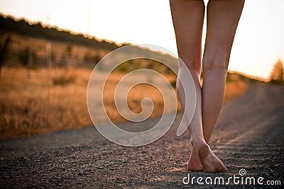 Legs on rural road