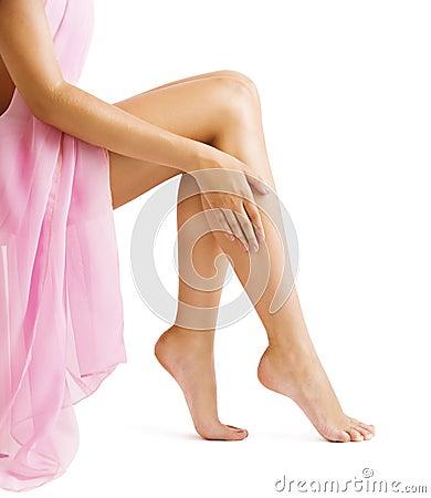 Free Legs Skin, Woman Touching Smooth Hairless Leg, Body Beauty Royalty Free Stock Image - 108171876