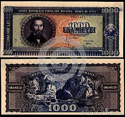 1000  Lei 1950 Old Romanian Bill Editorial Photo