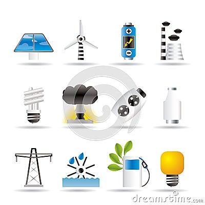Leistung-, Energie- und Elektrizitätsikonen