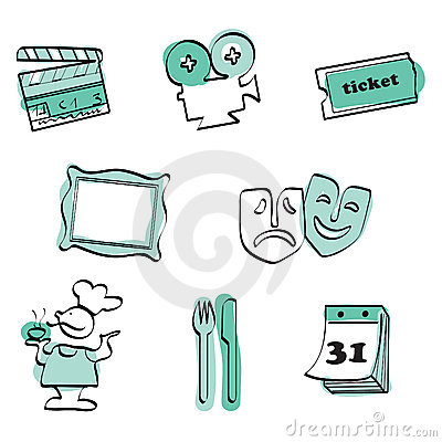 Leisure time set icon vector