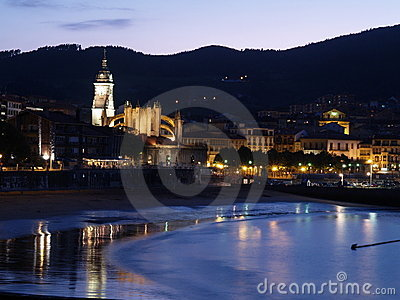 Lekeitio at dusk, Basque Country, Spain