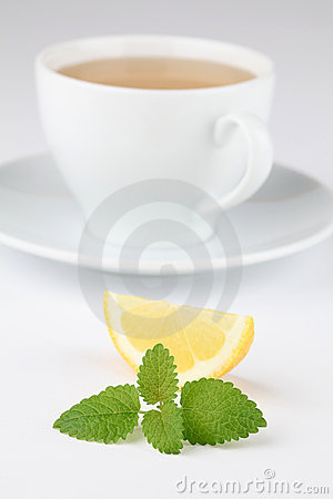 Lemon balm tea with lemon