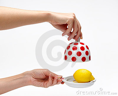 Lemon in the bank on a white background