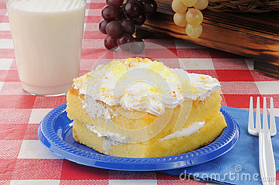 Lemon cake on a picnic table