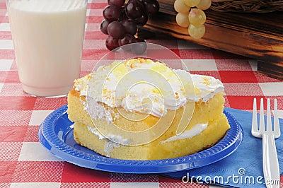 Lemon cake on a picnic table