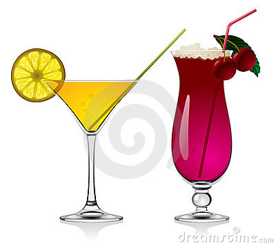 Lemon and cherry cocktails