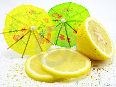 Lemon and cocktail umbrellas