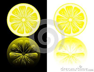 Lemon cut on a black and white.