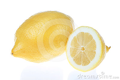 Lemon cut into a white background.
