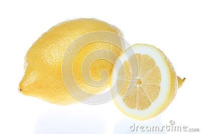 Lemon cut into a white background.