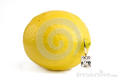 Lemon with diamond earring
