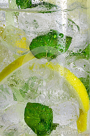 Lemon drink with mint leaf