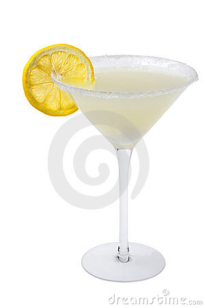 Lemon Drop Cocktail on a white background