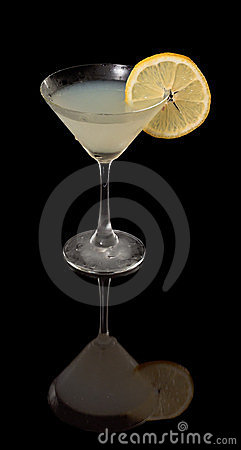 Lemon drop martini on black
