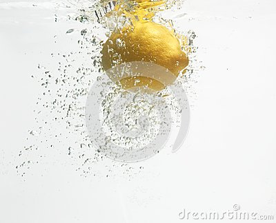 Lemon is dropped into clean water #2.