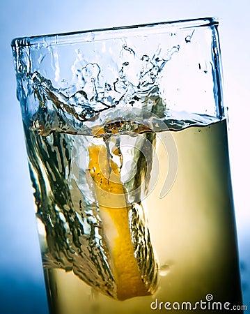 Lemon drops in a glass of drink