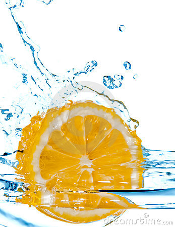 Lemon fall in water with splash