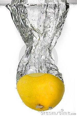 Lemon falling into water