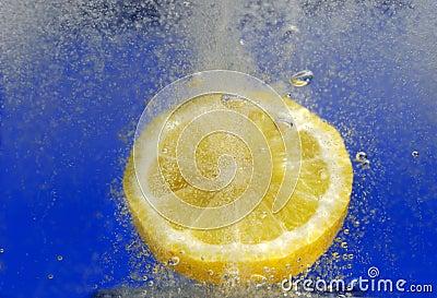 Lemon in fizzy drink