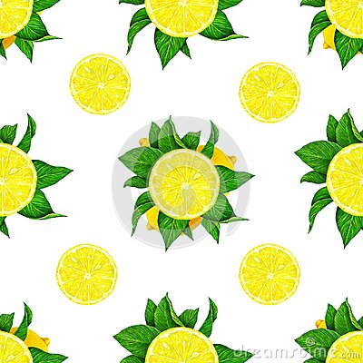 Free Lemon Fruits With Green Leaves Isolated On White Background. Watercolor Drawing Seamless Pattern For Design. Royalty Free Stock Photography - 115829867