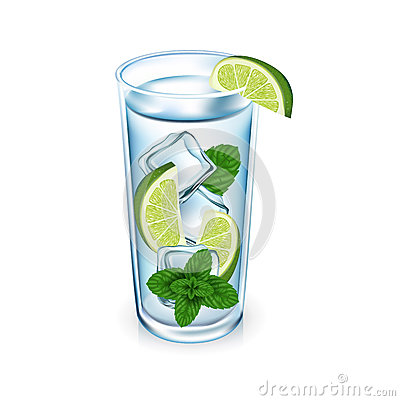 Lemon glass with ice cubes and mint