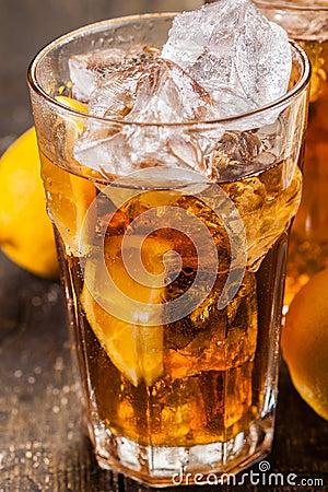 Lemon Ice Tea on wooden table