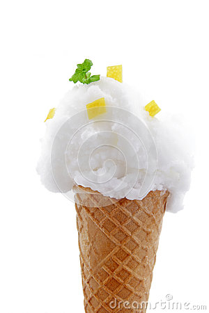 lemon icecream on white background