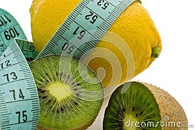Lemon, kiwi and blue measuring tape