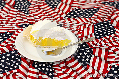 Lemon meringue pie on American flag tablecloth