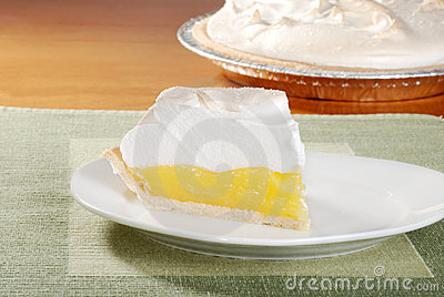 Lemon meringue pie on green placemat