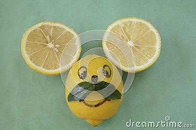 Lemon mouse face with mustache
