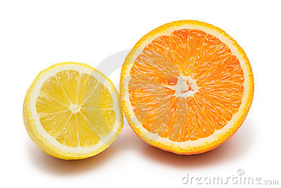 Lemon and orange isolated