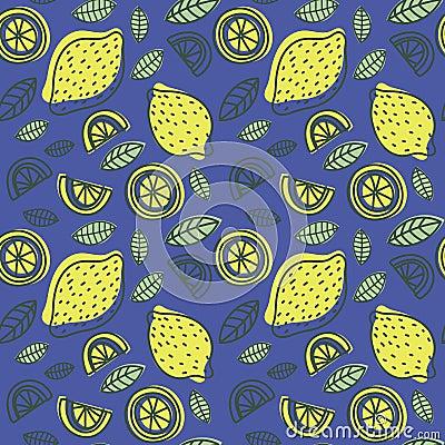Free Lemon Seamless Pattern. Hand Drawn Fresh Tropical Citrus Fruit. Stock Photos - 121670703