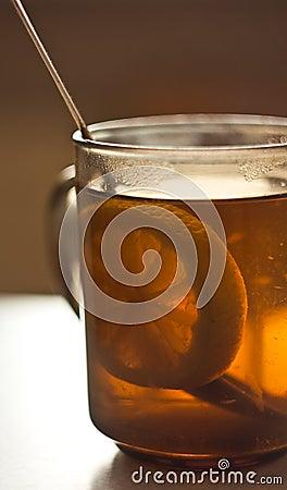 Lemon segment in a tea cup