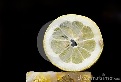 Lemon slice in black