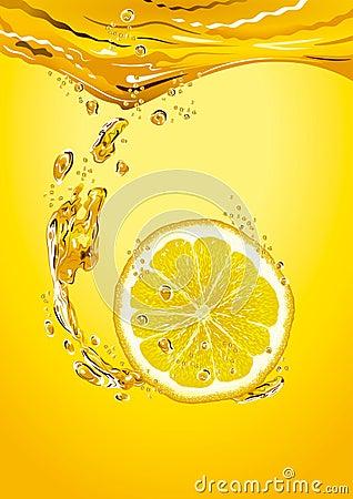 Lemon slice with bubbles