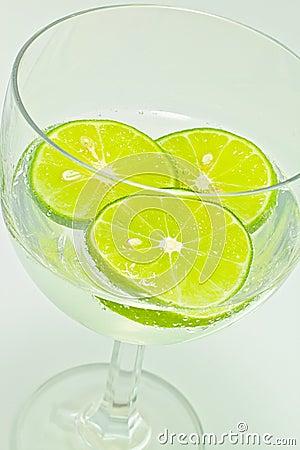 Lemon slice in glass wine with soda