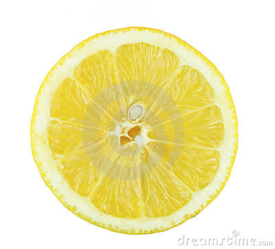 Lemon slice isolated on white background.